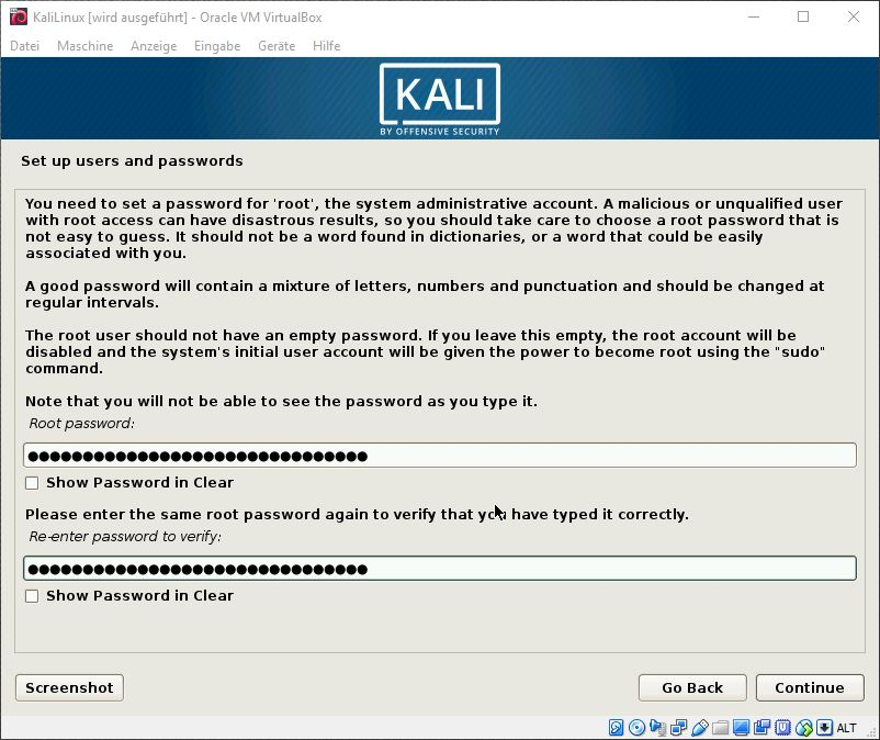 Kali Linux Password