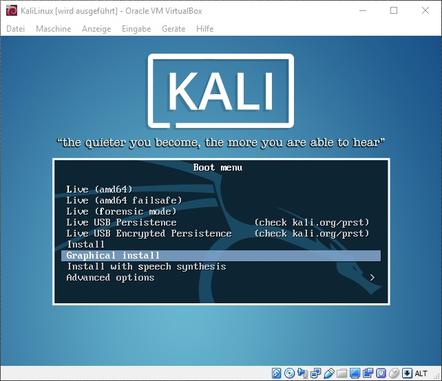 Kali Linux start installation